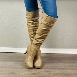 Over the Knee Tan Lace Up Faux Leather Boots